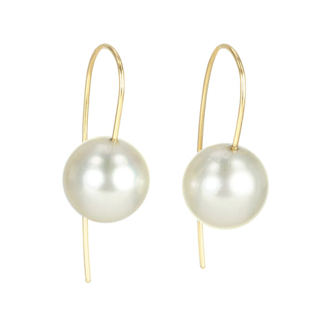 "Champagne South Sea Pearl Drop Earrings on ""Minimalist"" Ear Wires"