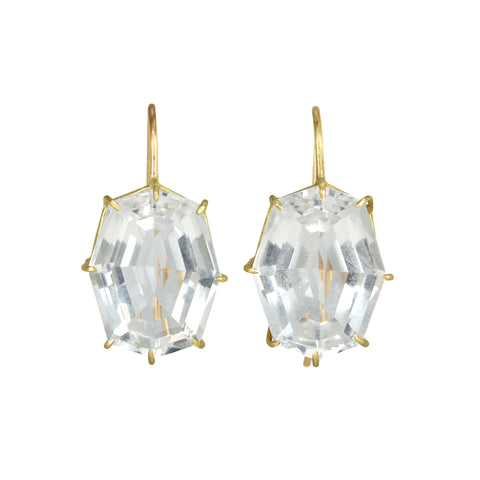 Rosanne Pugliese Gold Prong-Set White Topaz Hexagon Earrings