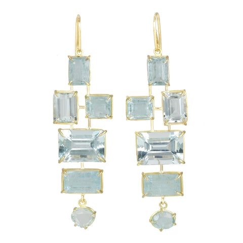 "Prong-Set One Of A Kind Aquamarine ""Tower"" Earrings"