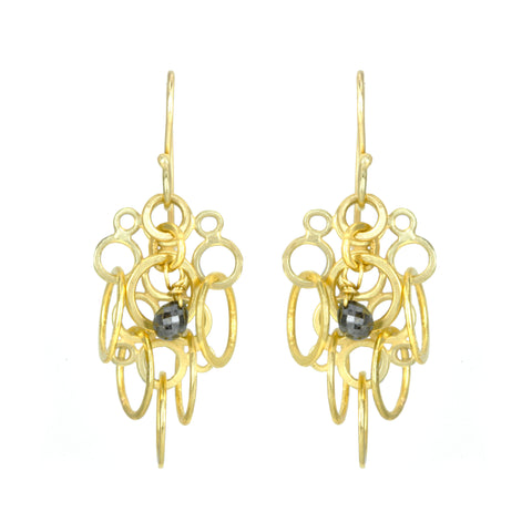 "Rosanne Pugliese 22K Gold ""Florette"" Cluster Earrings with Black Diamonds"
