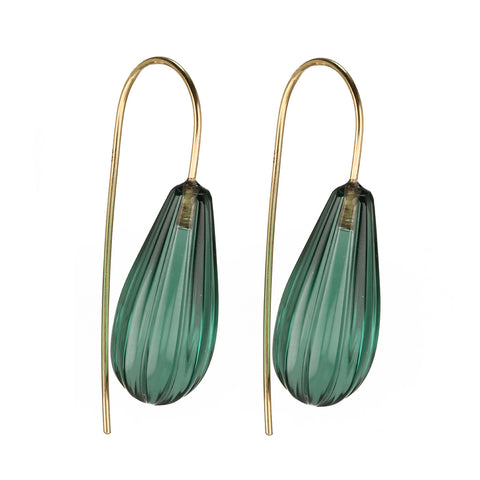 """Fluted"" Green Quartz Drop Earrings"