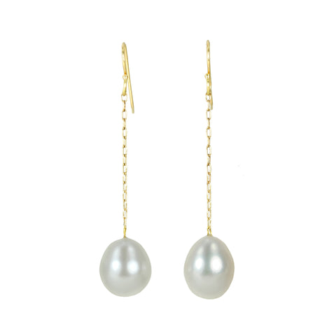 Fine Chain Earrings with Freshwater Pearl Drop