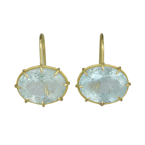 Rosanne Pugliese Gold Prong-Set Faceted East-West Oval Aquamarine Earrings