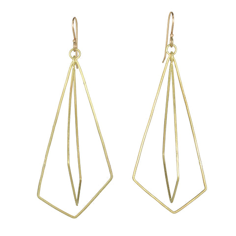 Rosanne Pugliese Gold Long Double Geometric Origami Earrings