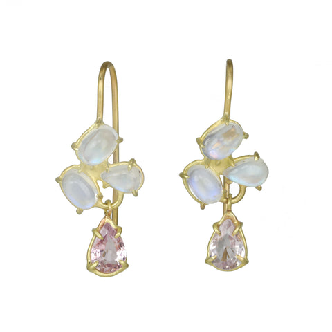 "Rosanne Pugliese Gold Prong-Set ""Mini Florette"" Earrings with White Rainbow Moonstones and Morganite Drops"