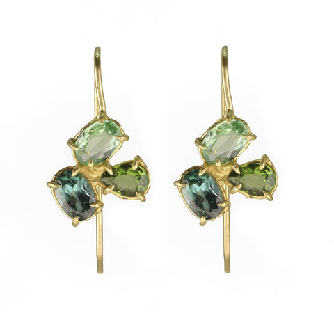 "Gold Prong-Set Green Tourmaline ""Mini Florette"" Cluster Earrings"