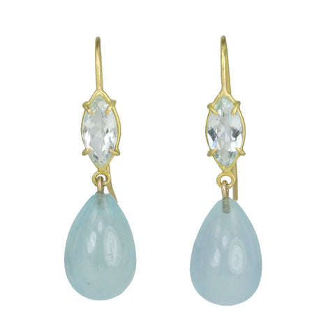Rosanne Pugliese Faceted Marquise and Smooth Aquamarine Double Drop Earrings