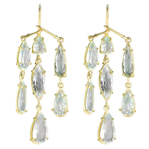 "Gold Prong-Set Aquamarine ""Chandelier"" Earrings"
