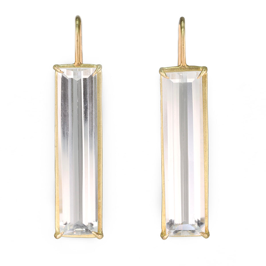 "Gold Prong-Set White Topaz ""Prism"" Earrings"