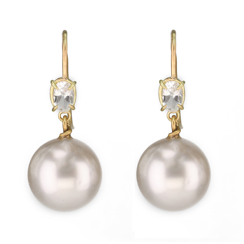 Gold Prong-Set Oval White Topaz with Cream South Sea Pearl Drop Earrings