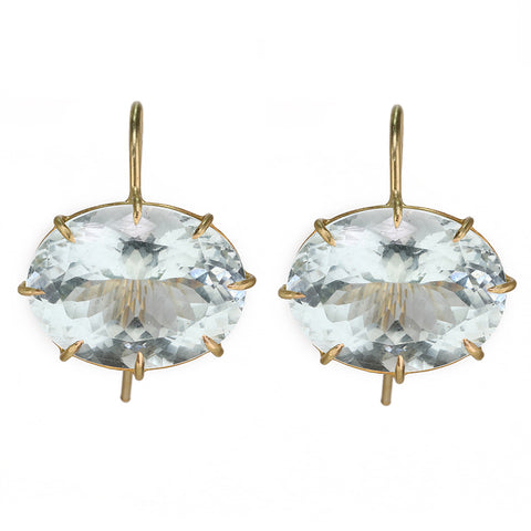 Rosanne Pugliese Gold Prong-Set Oval East-West Aquamarine Earrings