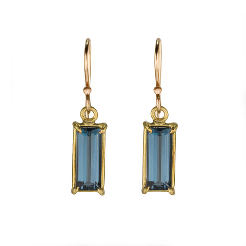 Rosanne Pugliese Gold Prong-Set Mini London Blue Topaz Baguette Drop Earrings