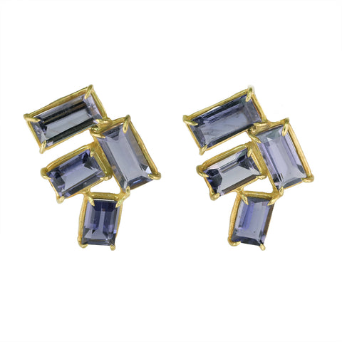 "Gold Prong-Set Baguette Iolite ""Tile"" Earrings"