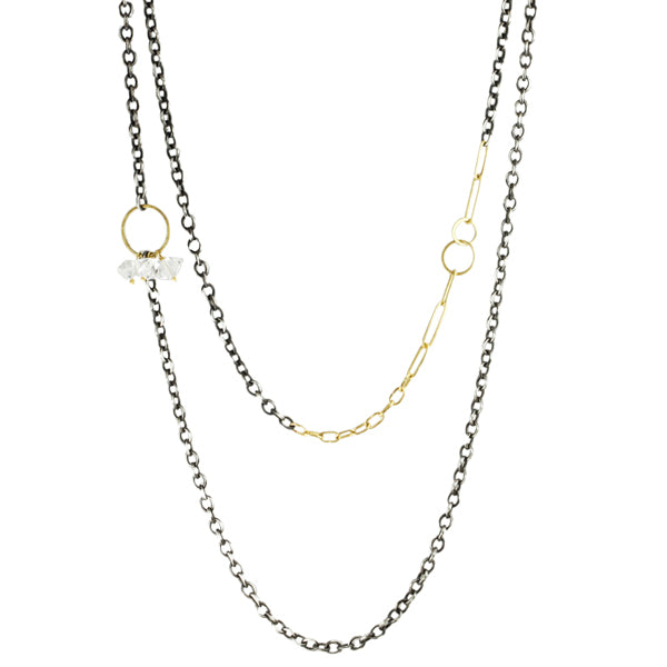 "Mixed Metal ""Heavy Chain"" Necklace with Herkimer"