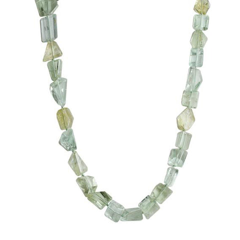 Faceted Blue and Green Tumbled Beryl Beaded Necklace