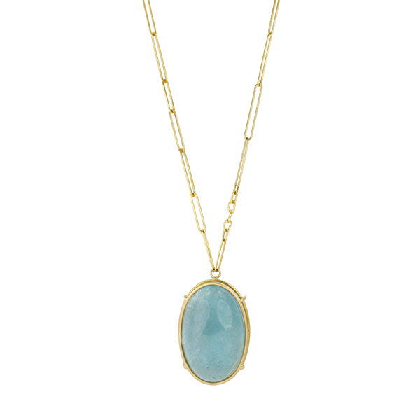 Handmade Gold Necklace with Cage-Set Aquamarine