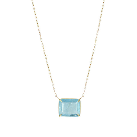 Gold Prong-Set Emerald Cut Aquamarine Necklace