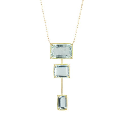 "Triple Emerald Cut Aquamarine ""Tower"" Necklace"