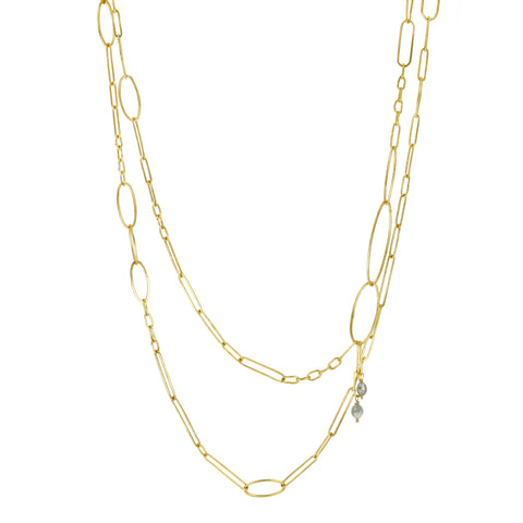 22K Gold Handmade Oval Link Chain with Grey Diamonds