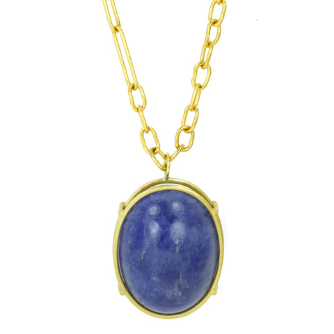 22K Gold Tanzanite Cabachon Necklace