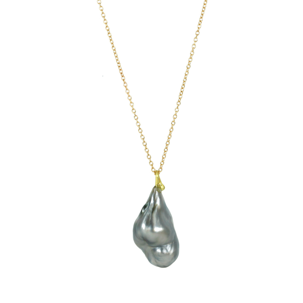 Gold Necklace with Silver Grey Keshi Pearl Drop