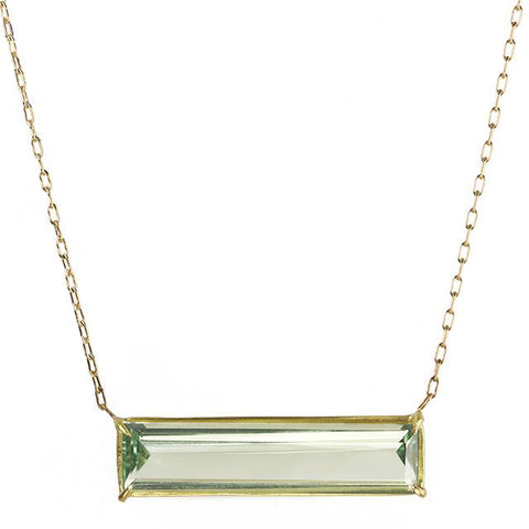 Rosanne Pugliese Gold Prong-Set Green Amethyst Bar Necklace