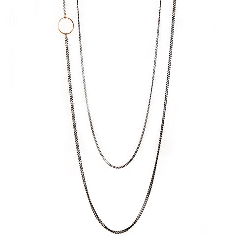 "Rosanne Pugliese Oxidized Sterling Silver Curb Chain with 22K Gold ""Pebble"" Detail"