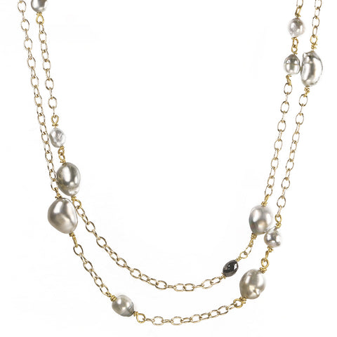 Rosanne Pugliese Gold and Variegated Keshi Pearl Necklace