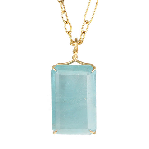 "Rosanne Pugliese Aquamarine ""Swimming Pool"" Necklace on Handmade 22K Gold Chain"
