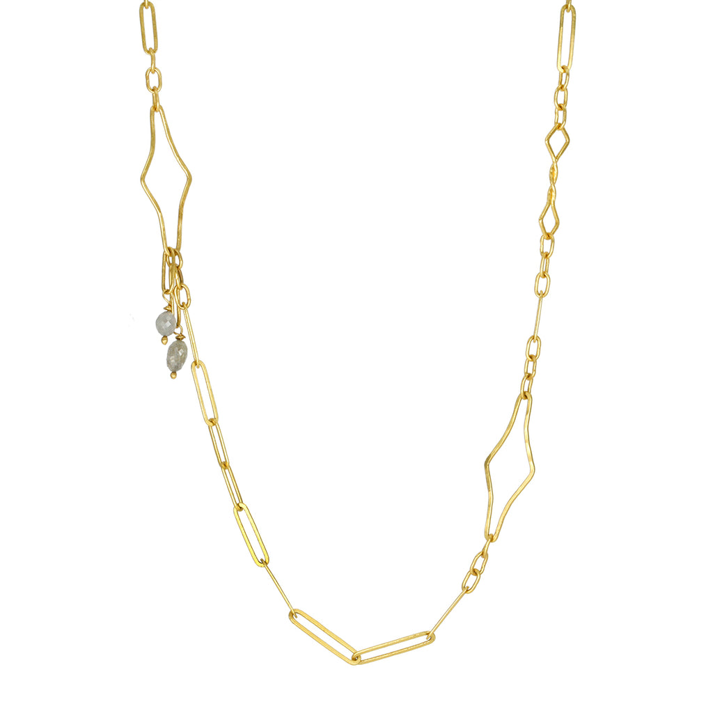 "Gold ""Mini Modern Link Chain"" Necklace with Grey Diamonds"