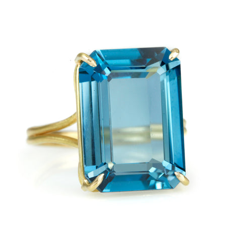 Gold and Emerald Cut London Blue Topaz Ring