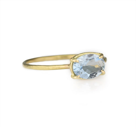 "Gold Prong-Set East-West Oval Darker Aquamarine ""Mini Gem"" Ring"