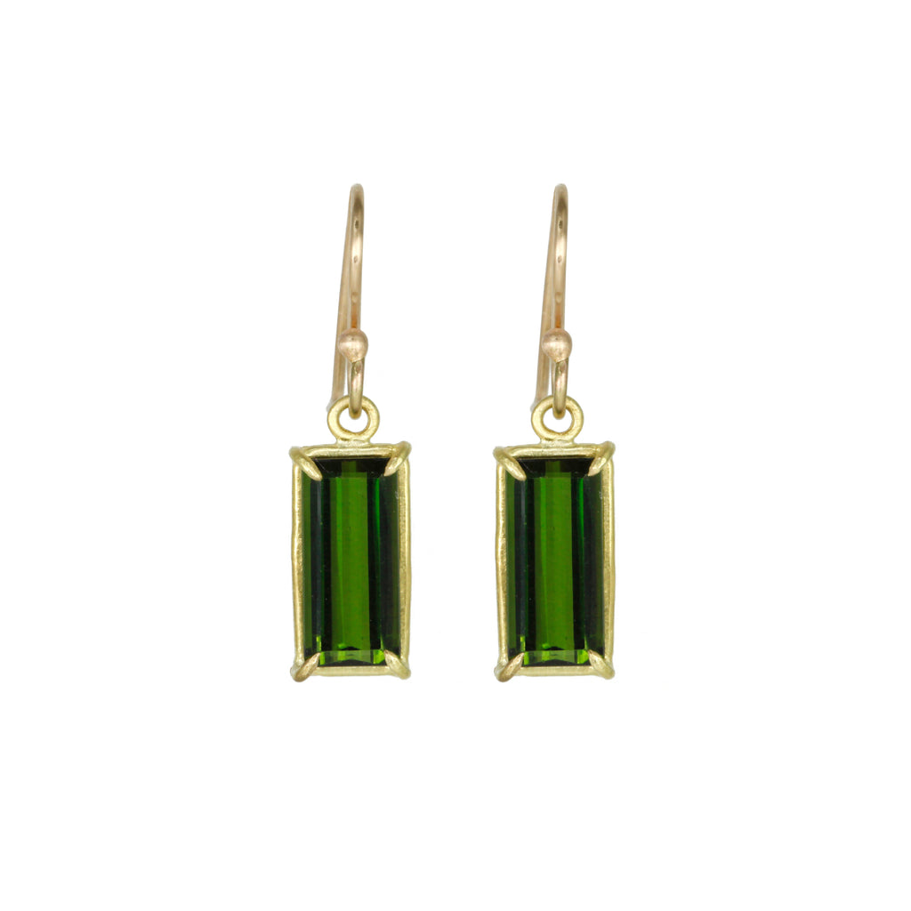 Green Tourmaline Emerald Cut Earrings