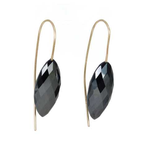 Faceted Marquise Hematite Drop Earrings