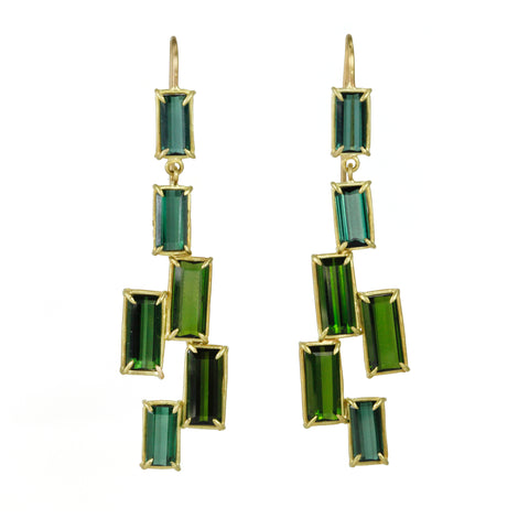"Gold and Green Tourmaline ""Tile"" Earrings"