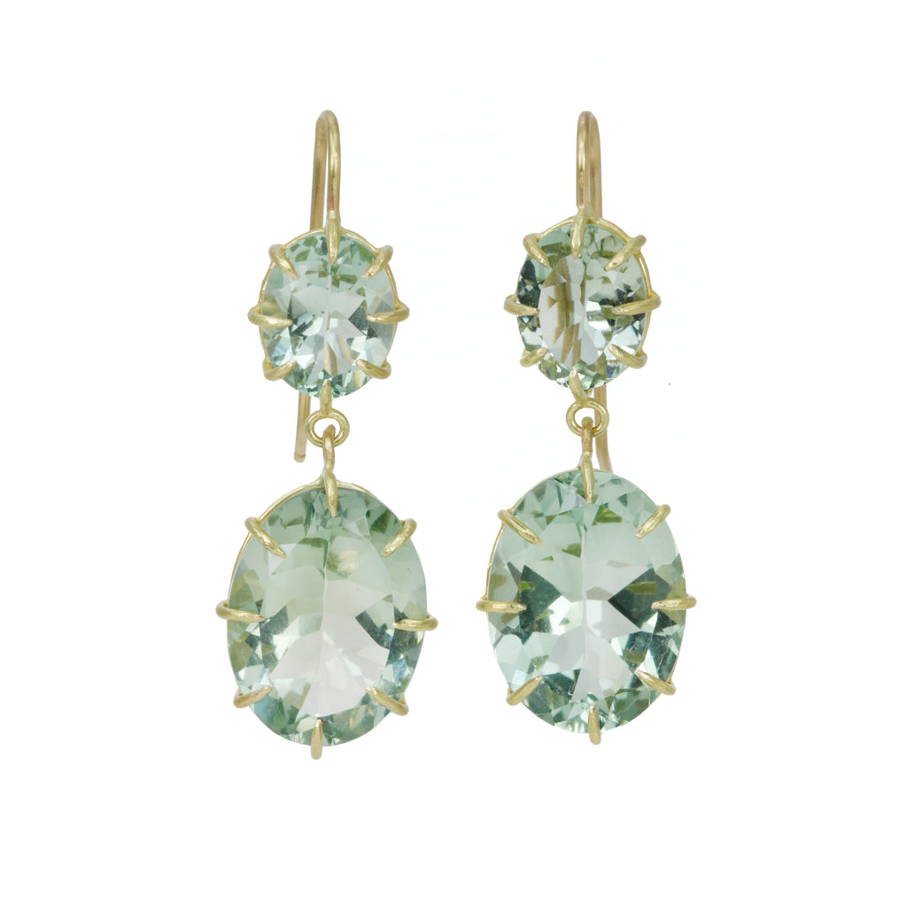 Gold and Green Amethyst Double Drop Earrings