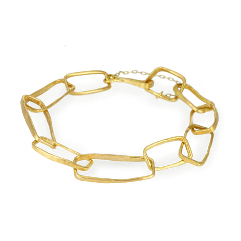 "Gold Hammered ""Heavy Box Link"" Bracelet"