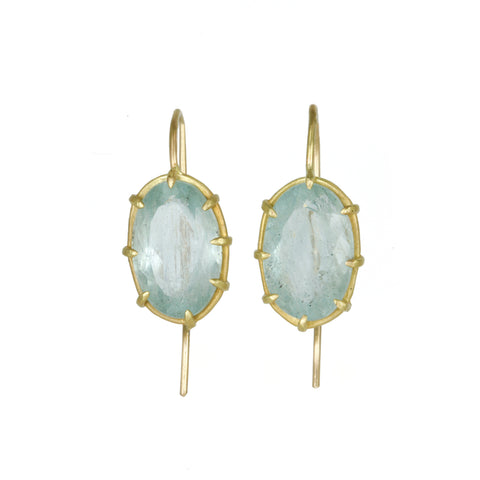 Oval Faceted Aquamarine Earrings