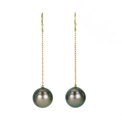 Yellow Gold and Tahitian Pearl Chain Drop Earrings