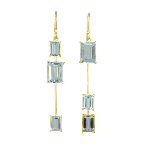 Asymmetrical Triple Emerald-Cut Aquamarine Earrings
