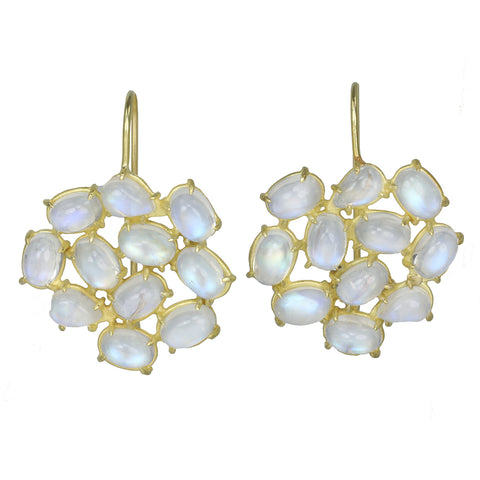 "Rosanne Pugliese 18K Gold ""Florette""  Earrings with White Rainbow Moonstones"