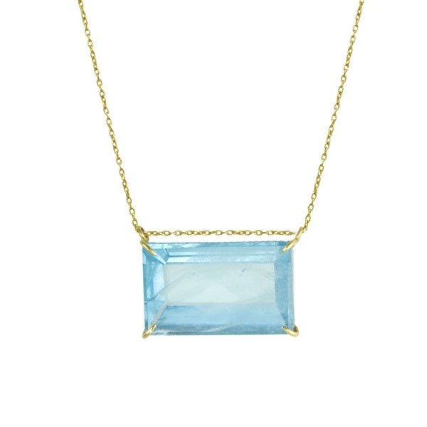 Prong-Set Aquamarine Prism Necklace