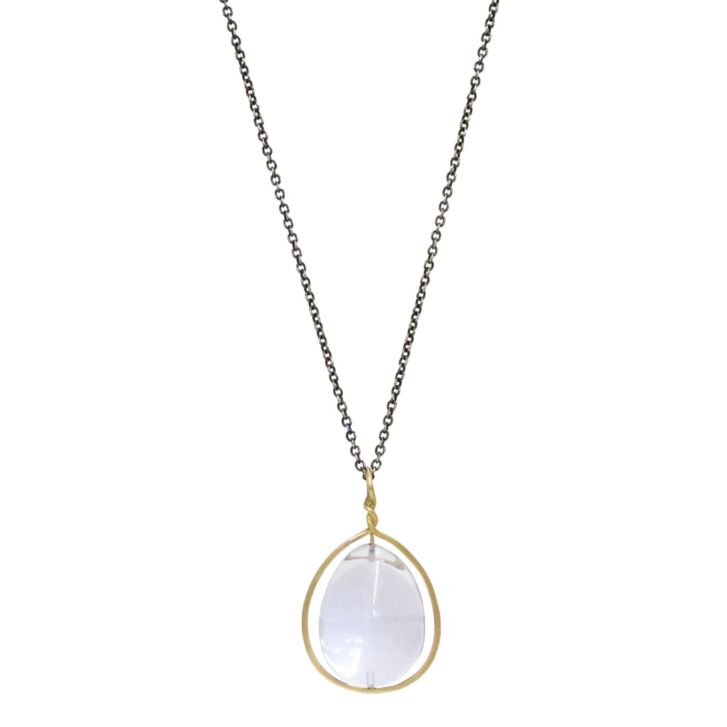 "Gold and Oval Quartz Crystal ""Pod"" Necklace"