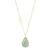 Gold and Teardrop Moss Aquamarine Necklace