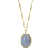 Gold and Oval Chalcedony Cabachon Pendant Necklace