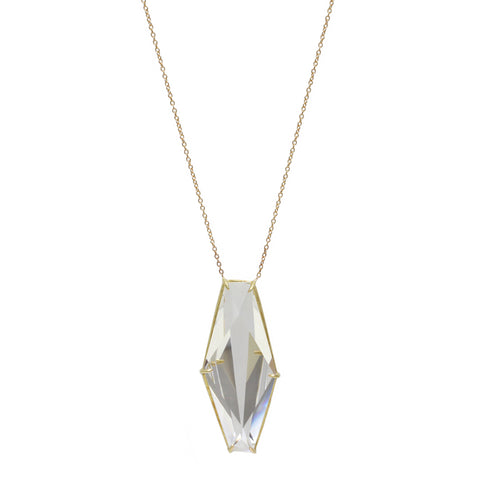 Gold and Geometric Rock Crystal Pendant Necklace