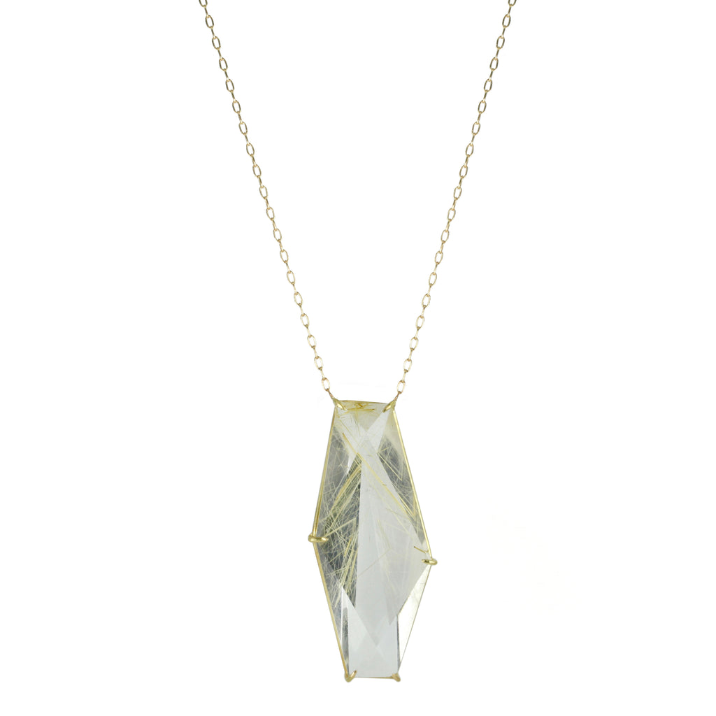 Gold and Geometric Rutilated Quartz Pendant Necklace