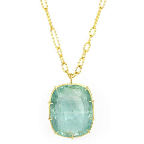 Green-Blue Beryl Necklace on 22K Gold Handmade Chain