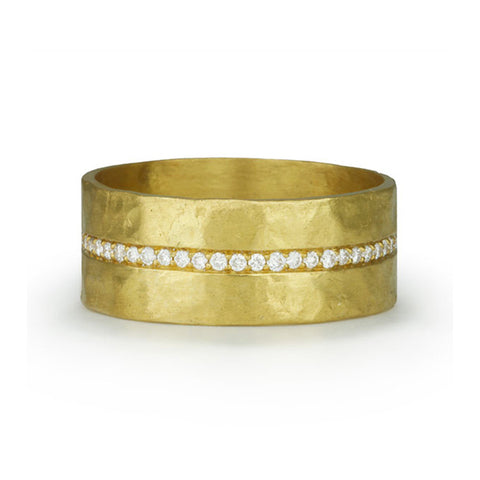 Hammered 22K Gold and Diamond Wide Band