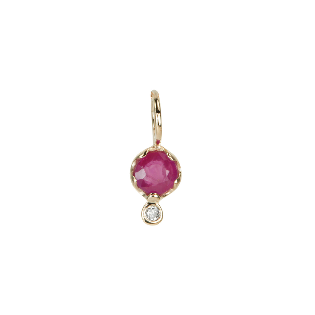 10K Gold Ruby and Diamond Charm